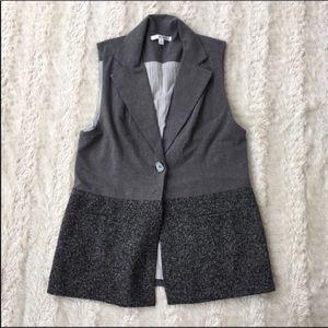 Cabi Sz S gorgeous grey tweed block vest jacket